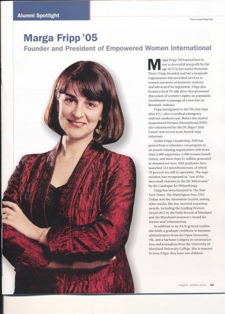 Marga Fripp on the Montgomery College publication