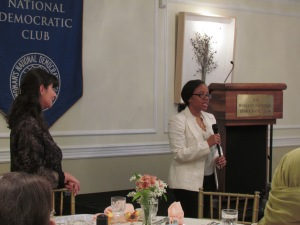 Marga (left), Cleo (right) speaking at the WNDC Club